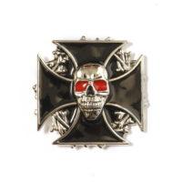 Buckle gesp maltezer kruis met schedel met rode ogen 245111-1911